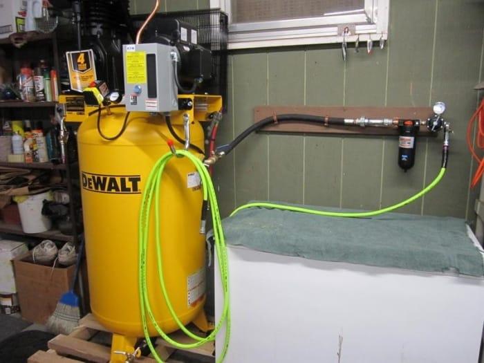 Air Compressor Setup In Garage